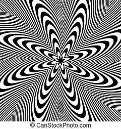 alternáló, kör alakú, editable, distortion., megvonalaz, spirál, háttér., fekete, vector., monochrom, fehér, elvont