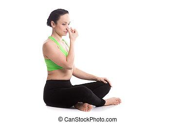 Alternate Nostril Breathing in yoga Sukhasana pose - Calm...