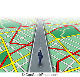 Alternate route and leadership solutions with a businessman walking through a complicated road map as a business focus concept of innovative thinking for financial success.
