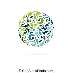 alternatief, chinese geneeskunde, en, wellness, kruiden, zen, meditatie, concept, -, vector, yin yang, pictogram, logo