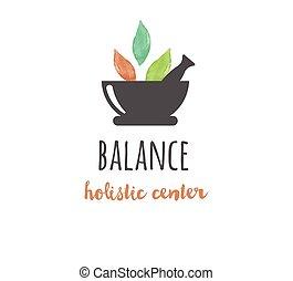alternatieve geneeskunde, en, wellness, yoga, -, vector, watercolor, pictogram, logo