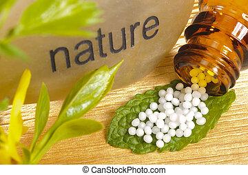 alternatieve geneeskunde, met, homeopathie, en, globules