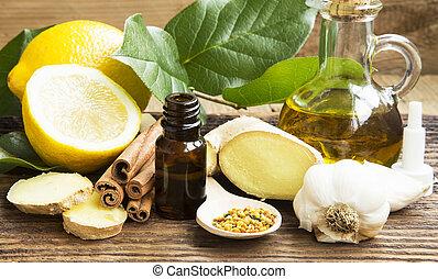alternatieve geneeskunde, met, knoflook, gember, en, citroen, olie