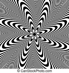 Alternating black and white lines with circular, spiral...