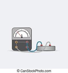 Alternating current ammeter on white background. Vector illustration