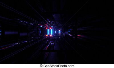 Alternating Neon Light Beam to Modern Data Center 4k uhd 3d illustration background