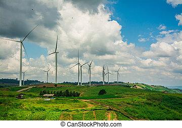 alternativ energi, med, slingra turbin