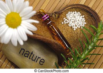alternativ lægekunst, hos, homeopathy, og, globules