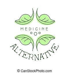 alternativ medicin, logo, symbol, vektor, illustration