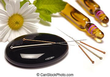 alternativ medicin, med, homeopati, droppar, och, akupunktur