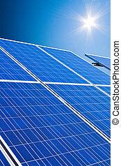 alternativ, sol, energy., driva, plant.