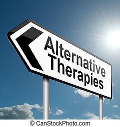 alternativ terapier, concept.