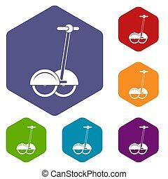 alternativ, transport, fordon, ikonen, sätta, sexhörning
