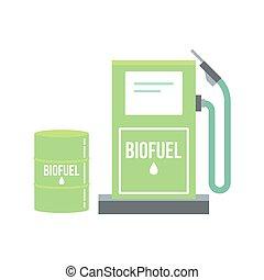alternativa, biofuel, energía, illustration.