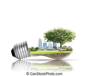 alternativa, bombilla, luz, concepto, energía