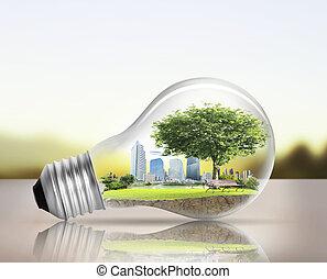 alternativa, bulbo, luz, conceito, energia