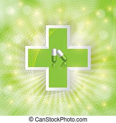 alternativa, conceito, medicação, fundo