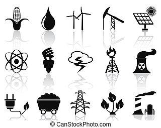 alternativa, conjunto, energía, iconos