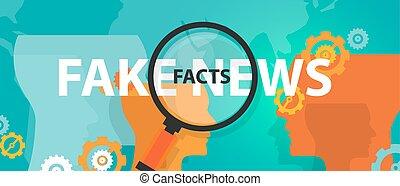 alternativa, en línea, hallazgo, hechos, verdad, falsificación, prensa, noticias, problema, o