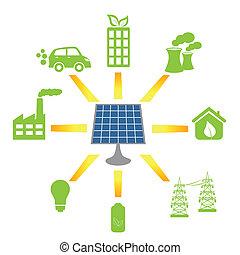 alternativa, generar, energía, panel solar