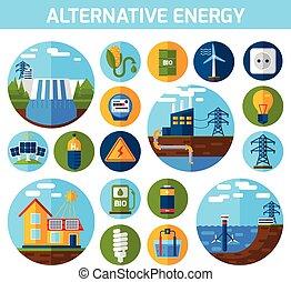 alternativa, jogo, energia, ícones