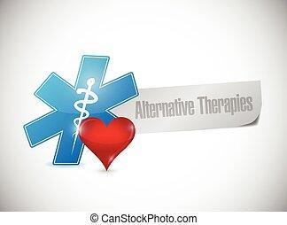 alternativa, mensagem, terapias, sinal