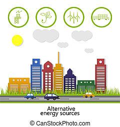 alternativa, sources., energia, renovável, energy.