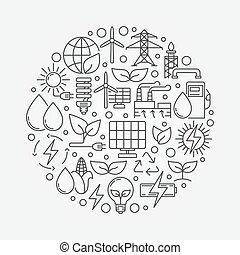 alternativa, verde, energia, ilustração
