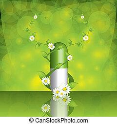 alternativa, verde, píldora