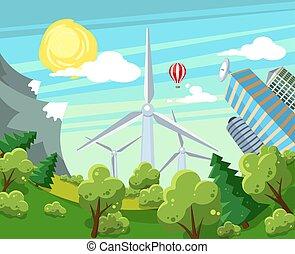 alternativa, vetorial, energia, illustration.