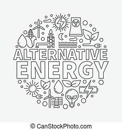 alternativa, vetorial, energia, ilustração, redondo