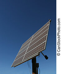 Alternative - A large array of solar panels on a pole.