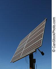 Alternative - A large array of solar panels on a pole.