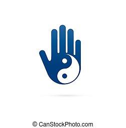 alternative, chinesische medizin, und, wohlfühlen, joga, zen, meditation, begriff, -, vektor, yin yang, ikone, logo