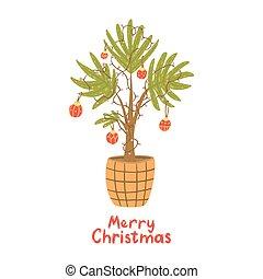 Alternative Christmas tree. Palm with christmas balls, lamp garland.