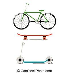 Alternative city eco transport - bike, scooter, skateboard. ...