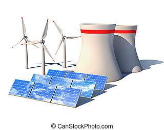 alternative energy 3d concept - Wind power station nuclear...