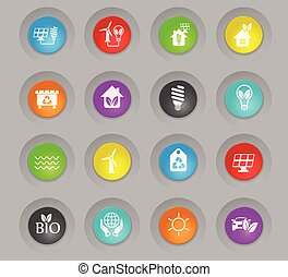 alternative energy colored plastic round buttons icon set