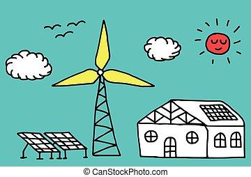 Alternative energy concept - Hand drawn house, wind turbine...