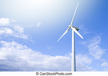 Alternative Energy Concepts. Windmill Outdoors Against Blue Sky