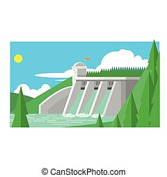 Alternative Energy Dam Flat Vector Illustration In ...