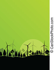 Alternative energy electricity wind generators in countryside forest nature landscape illustration background vector