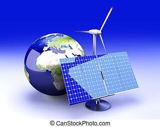 Alternative Energy - Europe - 3D rendered Illustration.