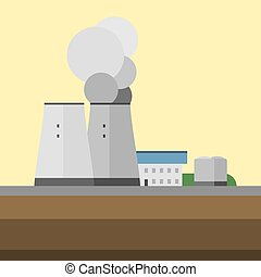Alternative energy factory source electricity conservation eco turbine technology background vector illustration.