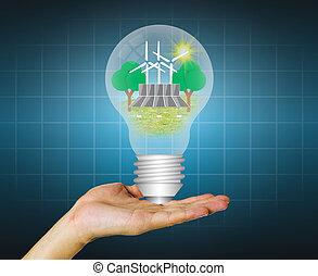 Hand hold alternative energy in bulb.
