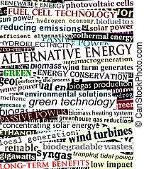 Background illustration of alternative energy newspaper headlines