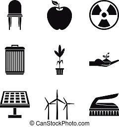 Alternative energy icon set, simple style - Alternative...