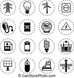 Alternative Energy Icons Black