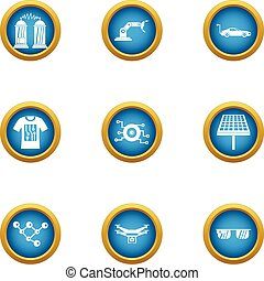 Alternative energy icons set, flat style
