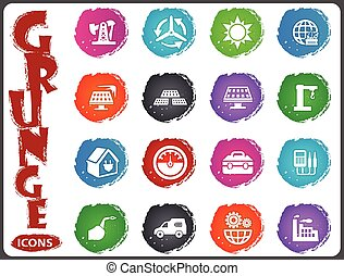 Alternative energy icons set in grunge style